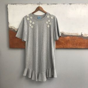 CeCe Gray Floral Appliqué French Terry Shirt Dress